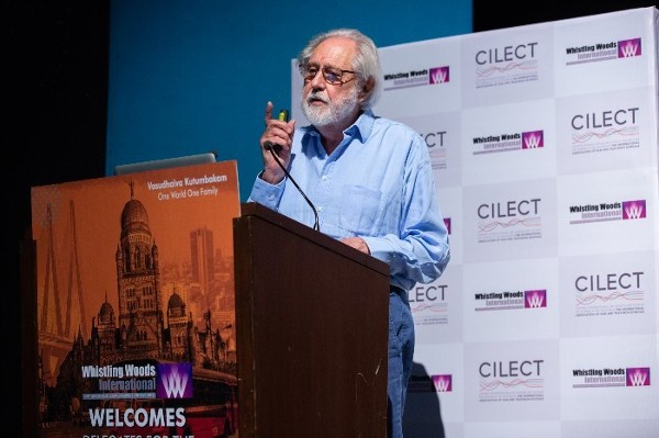 Lord Puttnam giving a speech for CILECT Congress 2018