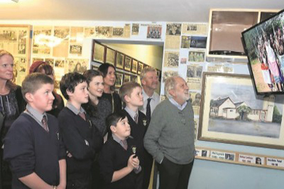 Lord Puttnam with students from Clonakilty, Co. Cork
