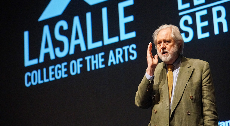 Lord Puttnam speaking at LaSalle, College of the Arts, Singapore